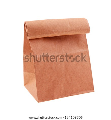Brown paper bag plain isolated on white background - stock photo