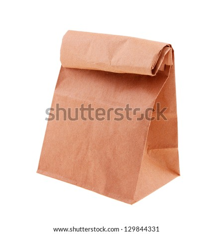 Brown paper bag plain isolated on white background