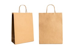 Brown paper bags isolated on white background.