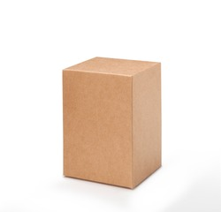 Brown paper box on white background. Suitable for food, cosmetic or medical packaging. Blank cardboard mockup photo.