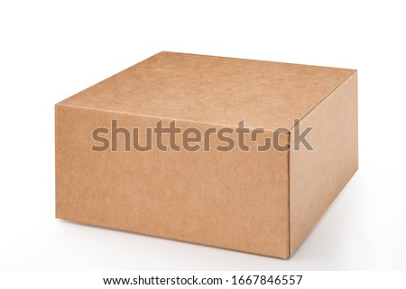 Brown paper box on white background. Suitable for food, cosmetic or medical packaging. Blank cardboard mockup photo. Foto stock ©