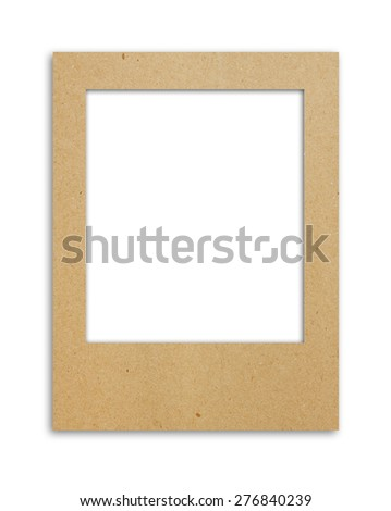 Brown paper card board photo frame on white background with copy space