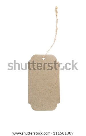 Brown paper label with rope on whit background isolate - stock photo