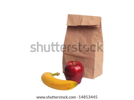 Brown paper lunch bag with apple and banana with clipping path