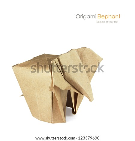 Brown paper origami elaphant on a white background