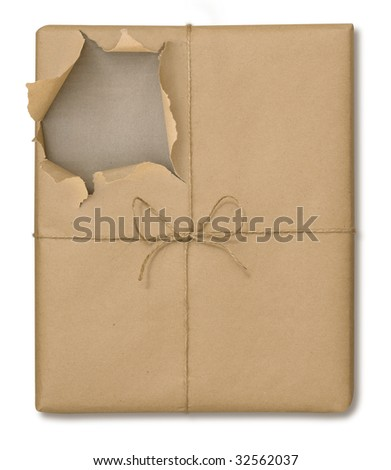 Brown paper package tied with string partially opened on a white background with a clipping path