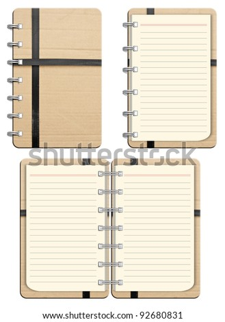 Brown Paper recycled paper notebook isolated on white background