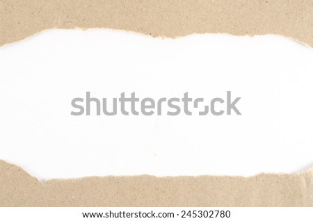 Brown paper ripped on white paper background