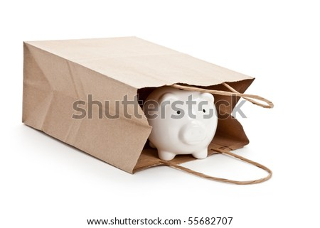 Brown paper shopping bag and Piggy Bank with white background