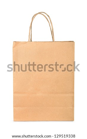 Brown paper shopping bag isolated on white