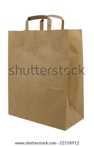 Brown paper shopping bag on white background