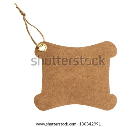 brown paper tag with metal rivet isolated on white background - stock photo