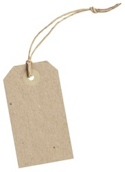 brown paper tag with string isolated on white background with clipping paths