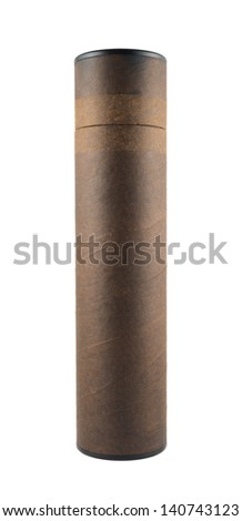 Brown paper tube container isolated over white background