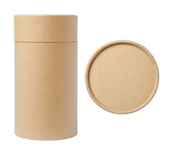 Brown paper tubes isolated on white background