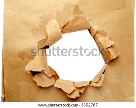 Brown paper with hole isolated on white