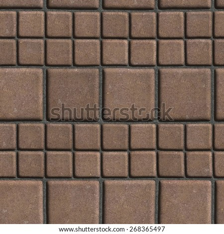 Brown Paving Slabs Lined with Squares of Different Value. Seamless Tileable Texture. #268365497