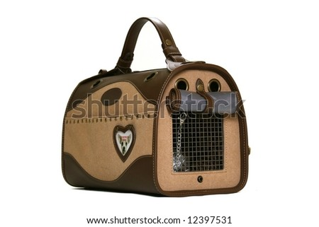 Brown Pet Carrier isolated on white