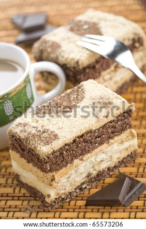 Brown piece of cake with chocolate - stock photo
