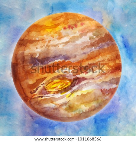 Brown planet, watercolor space background. Hand drawn illustration