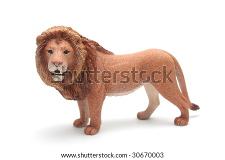 Brown Plastic Toy Lion on White Background