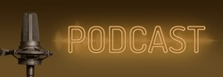 Brown podcast background, neon sign text with studio microphone and audio waveform, broadcasting website or program banner