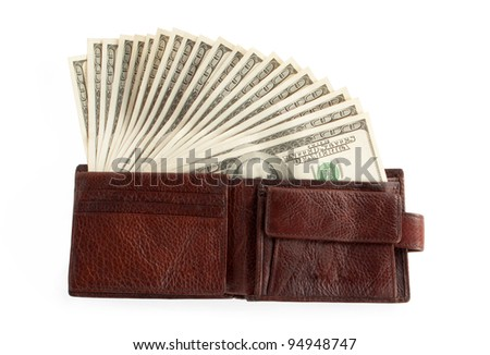 brown purse with dollars isolated on white background
