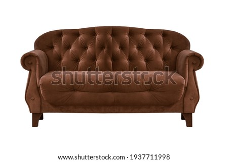 Brown quilted fabric classic sofa isolated on white background. Series of furniture Foto stock ©
