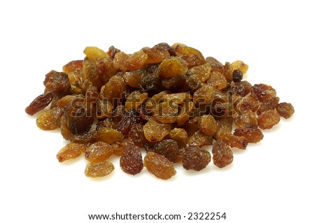 Brown raisins isolated on white background