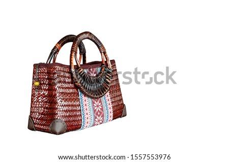 Brown  rattan handbag, handbag for women on  White Background