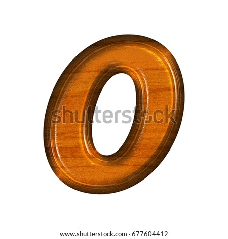 Brown Realistic Wood Grain Style Shiny Number Zero 0 In A 3D Illustration With Glossy