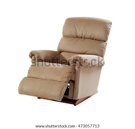 Brown reclining chair isolated on white background with clipping path.  ストックフォト ©