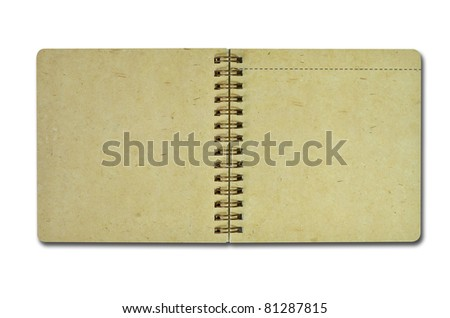 Brown recycle paper notebook isolated on white
