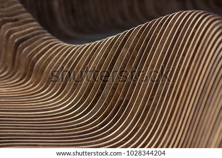 Brown red real walnut wooden furniture panel round circle spiral pattern fractal background. Furniture wall decoration element. Wooden decoration element fractal background. Spiral fractal pattern #1028344204
