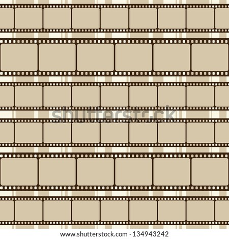 Brown retro background with film strips. Raster version