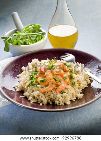 brown rice with shrimp and arugula pesto