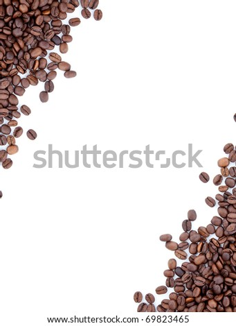 Brown roasted coffee beans isolated on white background #69823465