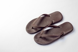 brown rubber sandal on white background