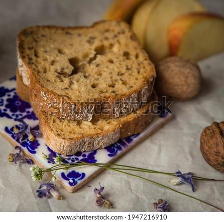 brown rustic bread and flowers Stock fotó ©