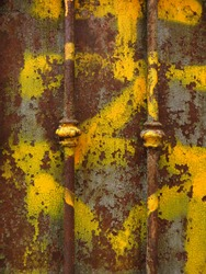 Brown rusty iron texture and yellow painted. Old metal iron rust background and texture. Grunge galvanized iron plate for texture background