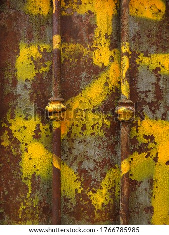 Brown rusty iron texture and yellow painted. Old metal iron rust background and texture. Grunge galvanized iron plate for texture background stock photo