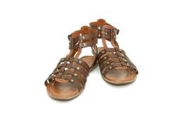 Brown sandals (gladiators) on white background