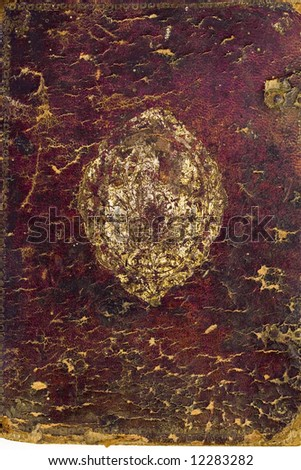 Brown scratched leather texture with stiched edges - stock photo