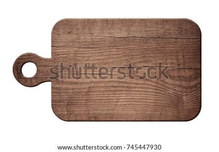 Brown scratched wooden cutting, choping board on white background.