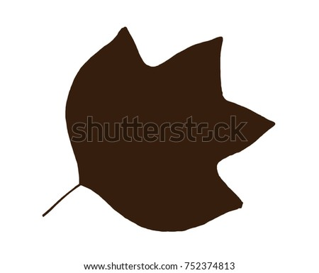 Brown shape of leaf isolated on the white background. Symbolic natural object.