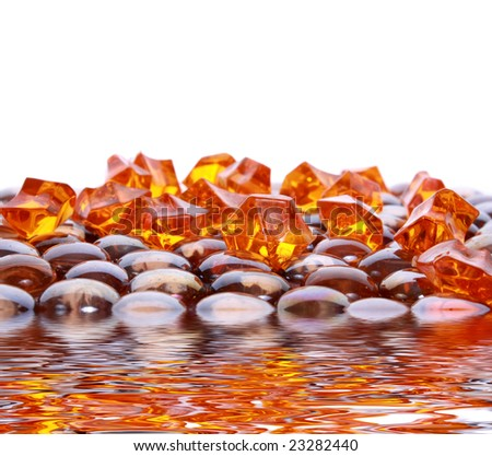 stock photo : brown shiny stones and gems on white background