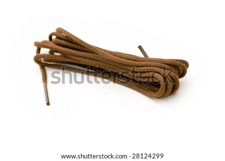 Brown shoe laces - stock photo