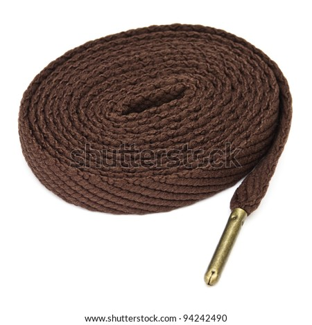 Brown shoelace on white background