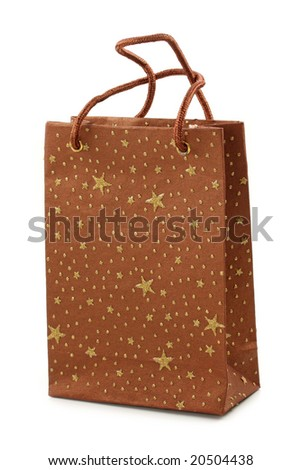 Brown shopping bag with stars isolated on white background