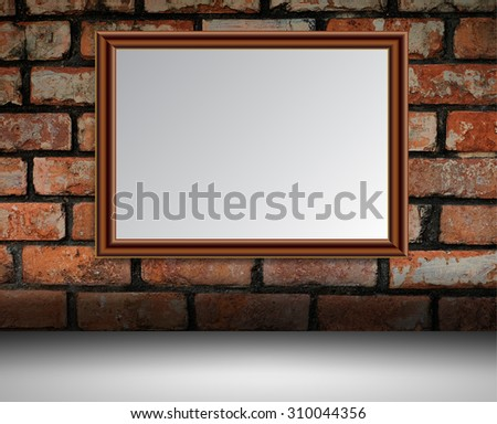 brown silver frame on the Old grunge brick wall. text box. art